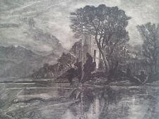 Wood Engraved/Woodcut D'Herbert Lespinasse Sign / No Loch Ness Monster Scottish
