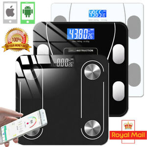 180KG BATHROOM BLUETOOTH SCALES BMI BODY FAT MONITOR WEIGHING IOS ANDROID GLASS