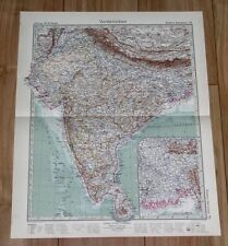 1932 ORIGINAL VINTAGE MAP OF BRITISH INDIA PUNJAB MADRAS / NEPAL HIMALAYA