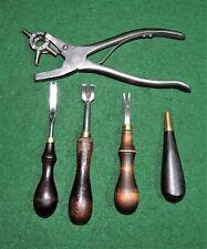 5 Vintage COBBLER TOOLS , LEATHER TOOLS, C.S.OSBORNE, SAMPSON TOOL CO.*NICE-N-CL