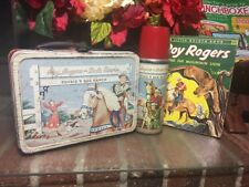 YEEHAW! VTG. 1950'S ROY ROGERS~DBL R BAR RANCH~LUNCH BOX & THERMOS W/BOOK~ RED