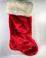 "17"" Red Faux Fur White Faux Fur Christmas Stocking Santa Claus Fluffy Soft"