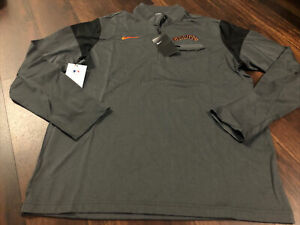 New Nike Mens San Francisco Giants 1/4 Zip Shirt Size Large Gray Orange