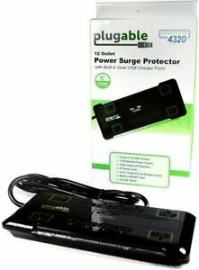 Plugable Surge Protector Power Strip w/ 2 USB, 12 Outlets, 120V 6' Cord