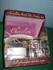 """CHOCOLATE BOOK & FONDUE SET, CERAMIC """"POT"""" & FORKS, ORIGINAL BOX, NEVER USED"""
