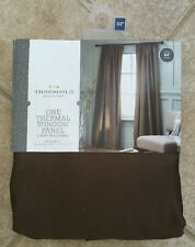 NEW One (1) Threshold Thermal 54x84 Window Panel Curtain Drape Rod Pocket Brown