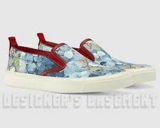 GUCCI blue 36.5 BLOOMS GG Supreme red trim SALAMANCA slip on sneakers NIB Authen