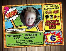 Super Hero Birthday Party Invitation Digital File Free Shipping Custom Photo