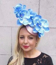 Sky Blue Rose Gold Sequin Orchid Flower Fascinator Hat Hair Clip Races Vtg 3324