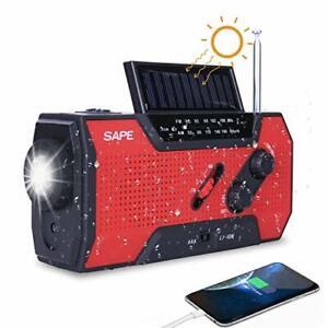 Solar Radio Powerbank LED Dynamo Outdoor Kurbelradio Mit Handyladefunktion Rot