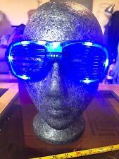 Light Up LED Novelty Blue Line Bar Glasses Shades Green New Sunglasses