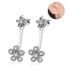 Flower Ear Jacket Stud Earrings Lady's Solid 925 Sterling Silver Cz Plum Blossom