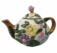 "Vintage Teapot 1990 CBT LTD Ceramic Floral Roses & Daisy ""Wood Bark Look Trim"""