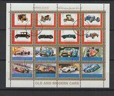 voiture et tacot  Ajman State  une feuille 16 petits timbres oblitérés/ T1458