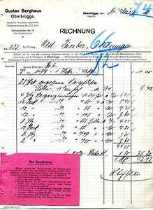 Rechnung Gustav Berghaus Oberbrügge Westfalen 1916 KI21354