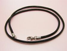 """~Custom Made~STAINLESS STEEL Genuine 2.5mm LEATHER Cord NECKLACE 61cm(24"""") +LONG"""