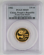 1982 China 1/4 Troy Oz 999 Gold Panda Coin PCGS MS69 GEM BU First Year of Issue