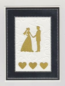Handmade Greeting Card ~ WEDDING with BRIDE AND GROOM AND HEARTS