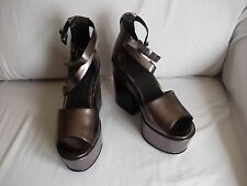 LADIES SILVER/PEWTER SHOES, WEDGE, CHUNKY, 2 ANKLE STRAPS. UK SIZE 5 (38). NEW