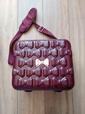 Ted Baker Rose Gold Bow Burgundy Travel Cabin Make Up  Vanity Luggage Case VGC