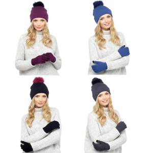 Ladies Womens Winter Bobble Hat & Touch Screen Gloves Set