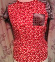 Red Herring Ladies Red-Multi Coloured Top Debenhams Size 8