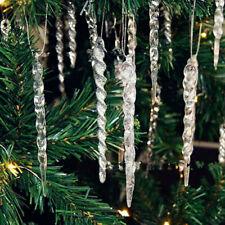 12PCS Acrylic Icicle Pendant Hanging Christmas Xmas Tree Ornaments Home Decor