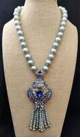 Heidi Daus Spring Awakenings Crystal Tassel Drop Necklace NWT