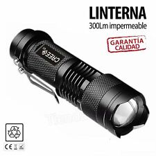 Mini linterna led CREE Q5 7W 300LM Flashlight con zoom impermeable caza pesca