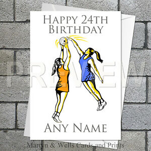 Netball personalised birthday card. 5x7 inches. Sport.