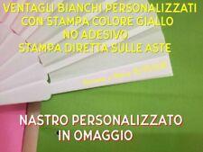 50 VENTAGLI BIANCHI PERSONALIZZATI MATRIMONIO COLORE GIALLO + OMAGGIO