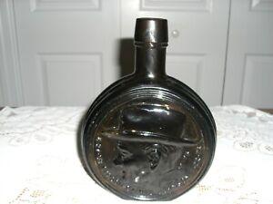 "Vintage 7 3/4"" Tall WHEATON Amber Glass Lyndon Johnson Bottle - Nice condition"