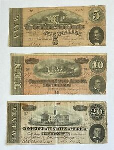 Lot of 3 - 1864 Confederate States of America $5, $10, $20