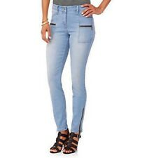 Nevermind Women's Mid-rise Zipper Pockets Skinny Leg Ankle Jeans 12 Faded Blues