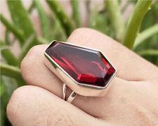Garnet Coffin Ring 925 Sterling Silver Ring Handmade Ring All Size KA-56