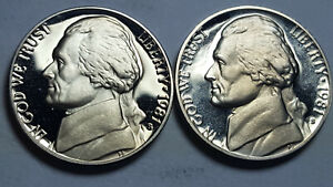 """1981-S Proof Jefferson Nickels Type 2 Clear """"S"""" Type 1 Filled """"S"""" DCam BU"""