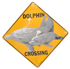NEW Dolphin Mother and Pup Swimming Ocean Crossing Road Sign