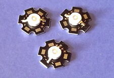 3 X  3W 365nm UV POWER  LED on HEATSINK Kühlkörper Emitter  Ultra Violet 5mm