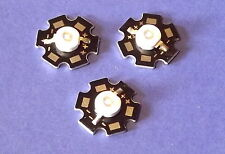 3 x 3w 365nm UV Power LED on Heatsink disipador térmico emisor Ultra Violet 5mm