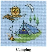 Camping Counted Cross Stitch Kit - Mouseloft - Needle, Threads, Aida & Card