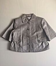 Women Gray Peter Nygard  3/4 Sleeve Genuine Leather Solid  Lined Jacket sz 14
