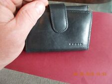 LODIS TRIFOLD WOMENS BLACK LEATHER WALLET ID CREDIT CARDS ZIPPERED COIN NICE