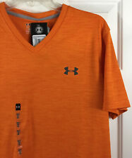 Under Armour Men's Orange Athletic V-Neck Shirt Loose Heat Gear 1293940 Size M