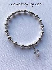 Trama grossa Stretch Bracciale placcato argento con cristallo Swarovski Goccia Ciondolo fatto a mano