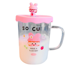 Cute Women Glass Cup Graduated Hot Tea Kids Milk Coffee Glass Mug c/w Lid 450ML