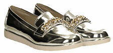 Womens Trainer Metallic Faux Ladies Gold Silver Loafer Brogues Slip on Shoes