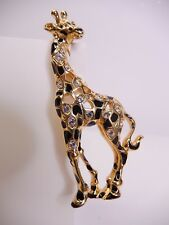 Signed Swarovski Brooch Crystal Giraffe Gold Plated