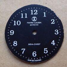 Favre Leuba Sea Chief watch dial, white on black, 28mm.