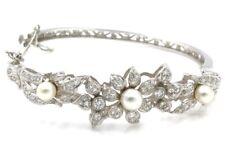 14K WHITE GOLD 1.69 CTW DIAMOND & PEARL FLORAL HINGED BANGLE BRACELET- #508B-10