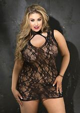 Stretch Lace Chemise New Adult Womens Sexy Valentine Lingerie Black Queen Size
